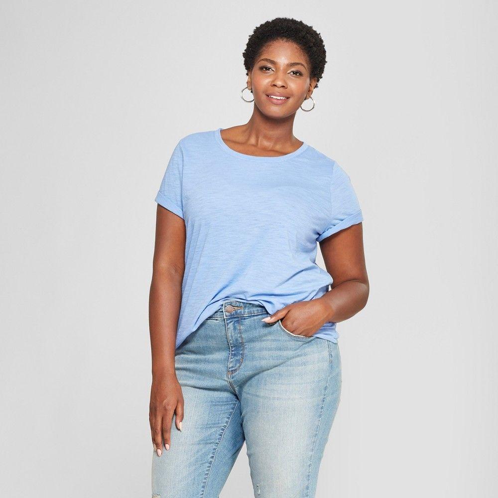 fea10d9d Women's Plus Size Crew Neck Short Sleeve T-Shirt - Ava & Viv Blue 2X ...