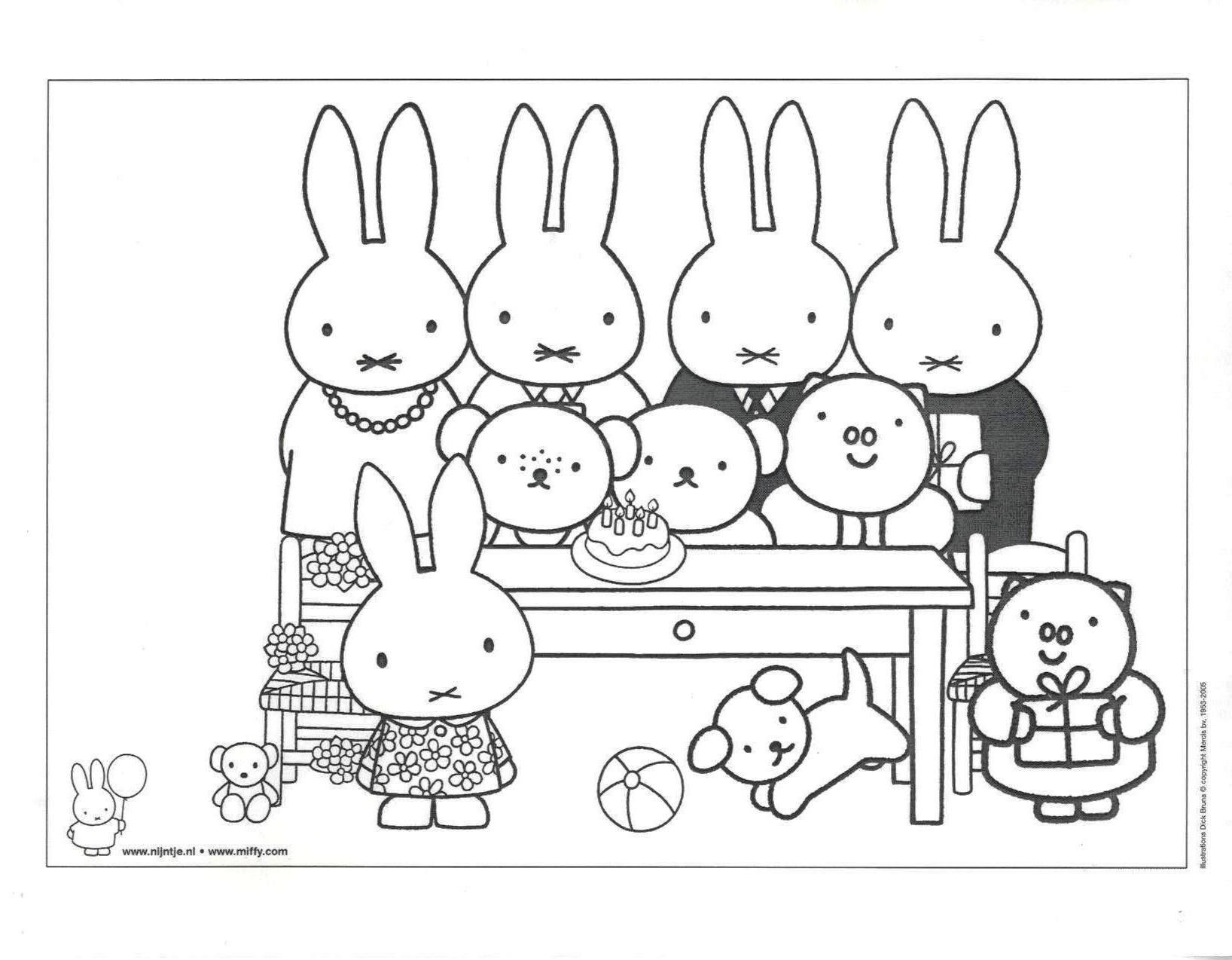 Miffy Friends Colouring Cartoon Coloring Pages Friend Cartoon Miffy