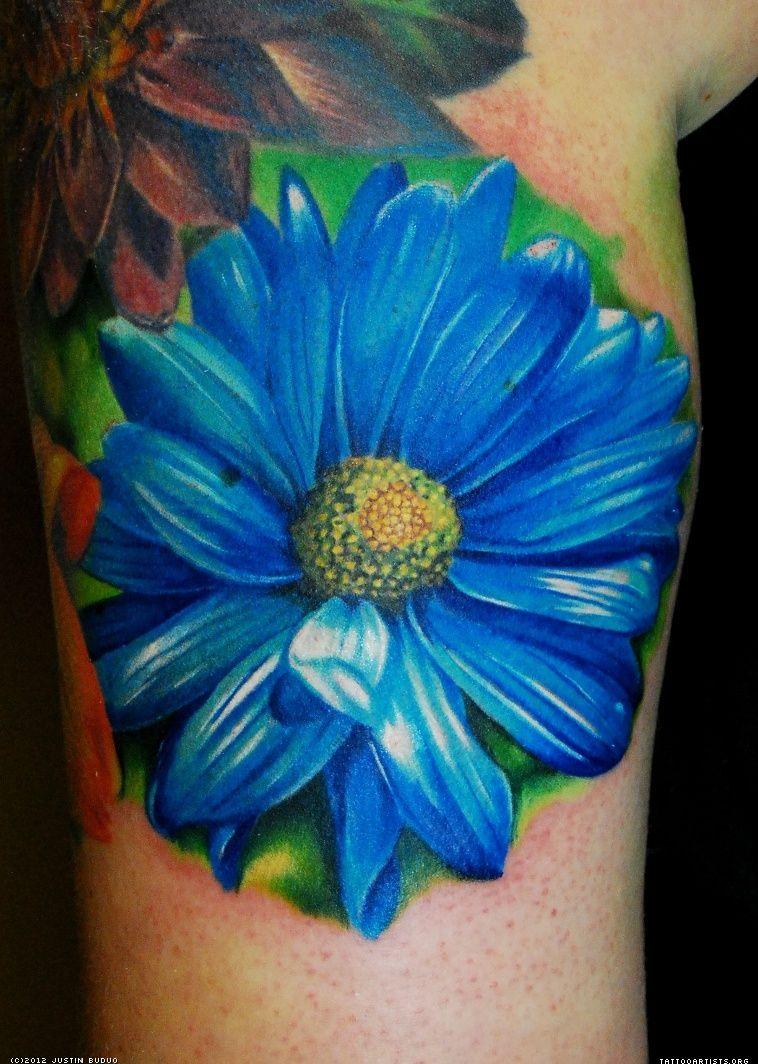 Gerber Daisy Tattoo: Gerber Daisy Tat. Love The Blue! Aunt Daisy's Fave Flower