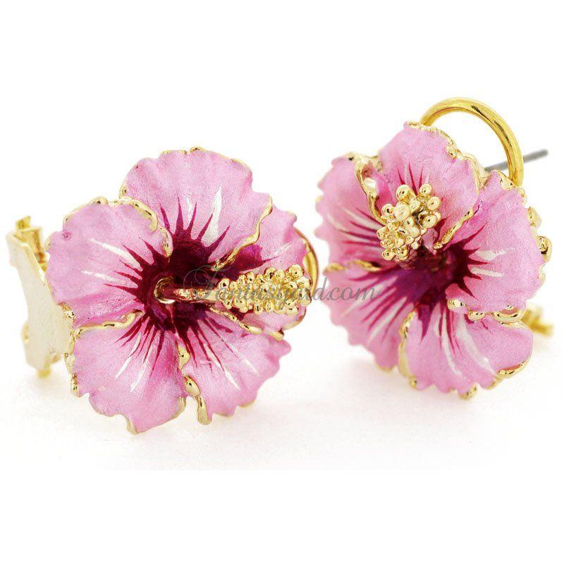 Pink Hawaiian Hibiscus Flower Earrings Earrings Hawaii Jewelry Earrings Collection