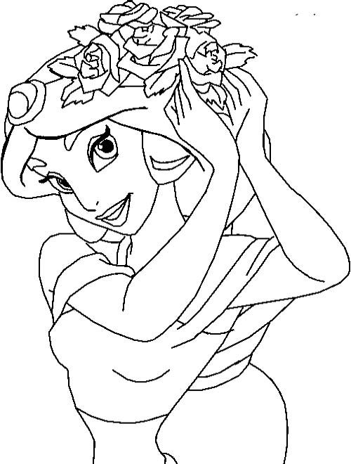 Installing Jasmine Flower In Hair Coloring Pages