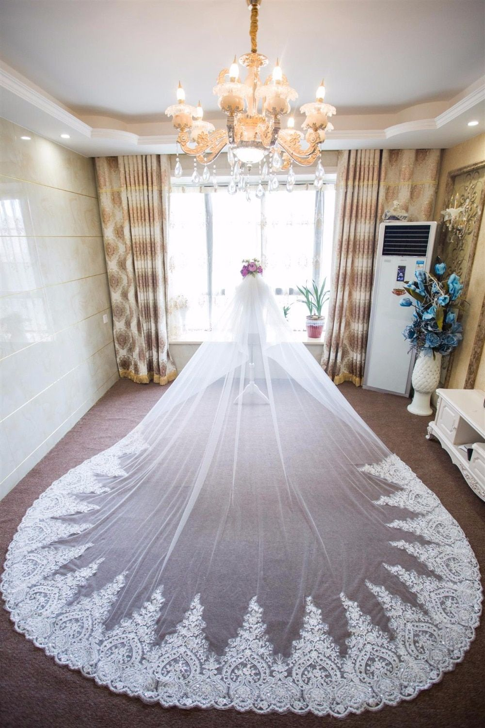 3 Meters Long Ivory Wedding Veils Cathedral Appliques On