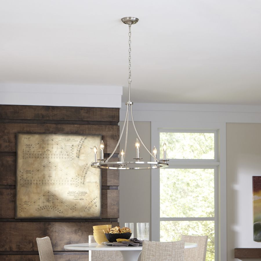 Dining Room Chandeliers Lowes: Shop Allen + Roth 6-Light Brushed Nickel Chandelier At
