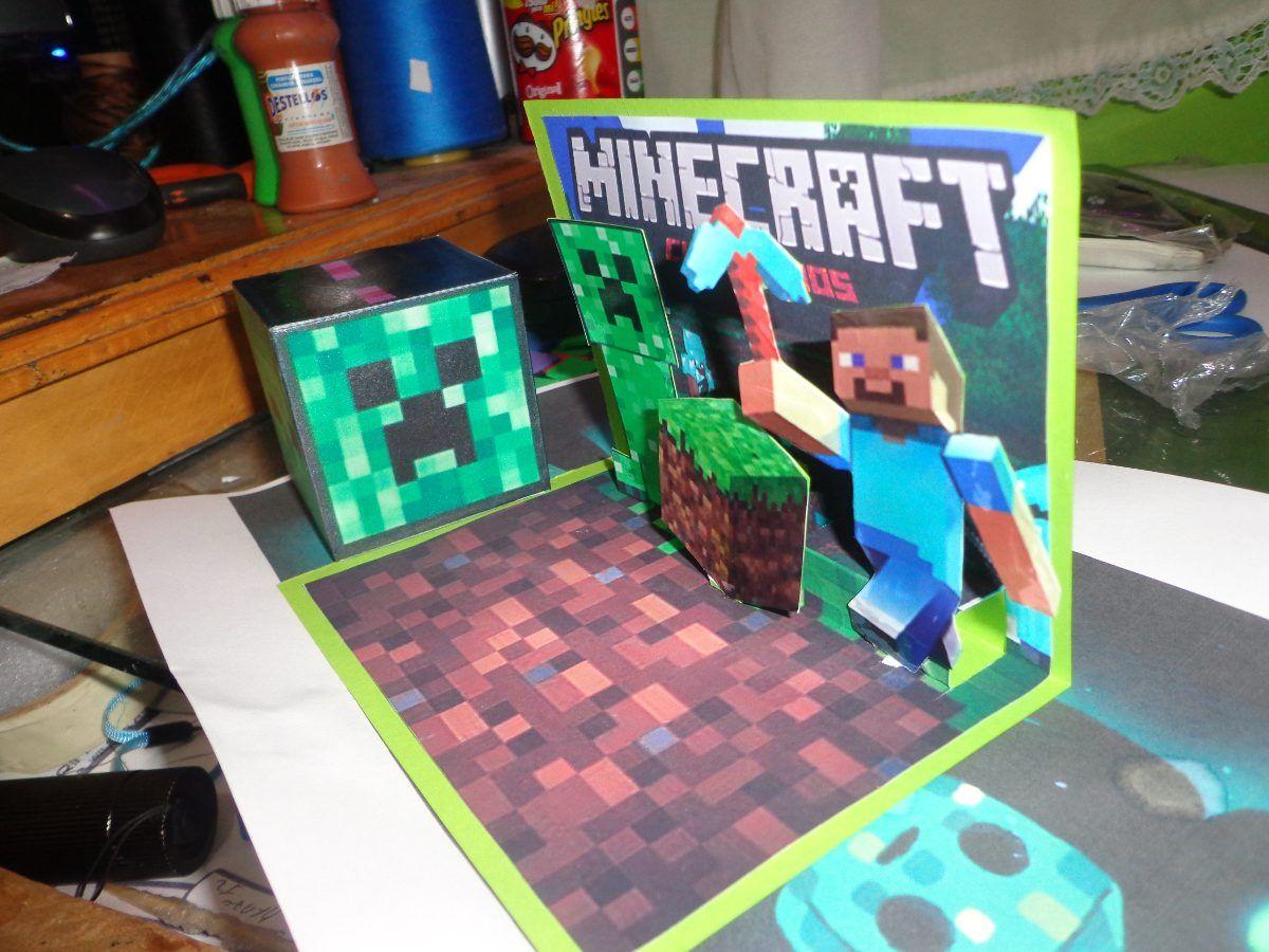 Minecraft Tarjetas De Invitacion 3d U S 2 00 En