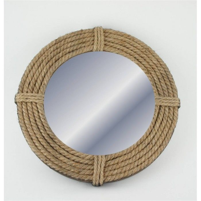 beach bathrooms nautical round rope mirror