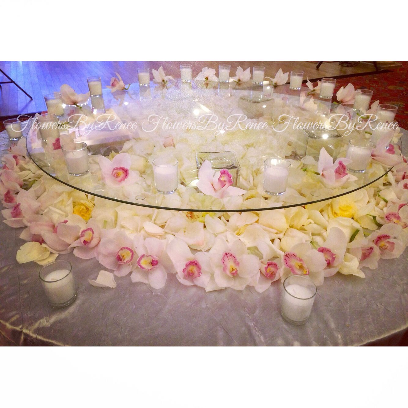 Cake Table Decorated With Orchids Rose Petals And Candles Rose Petals Cake Table Wedding