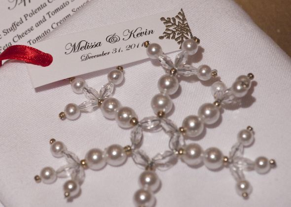Pearl and glass snowflake ornament wedding favors Found on