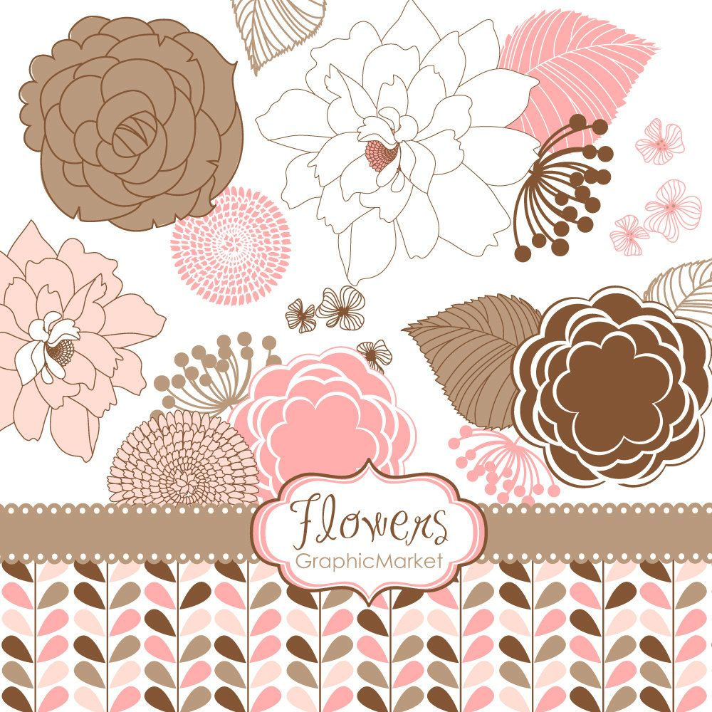 18 Flower Designs - Clipart and Digital paper for scrapbooking, wedding invitation cards, Personal and Small Commercial Use.. $4.99, via Etsy.
