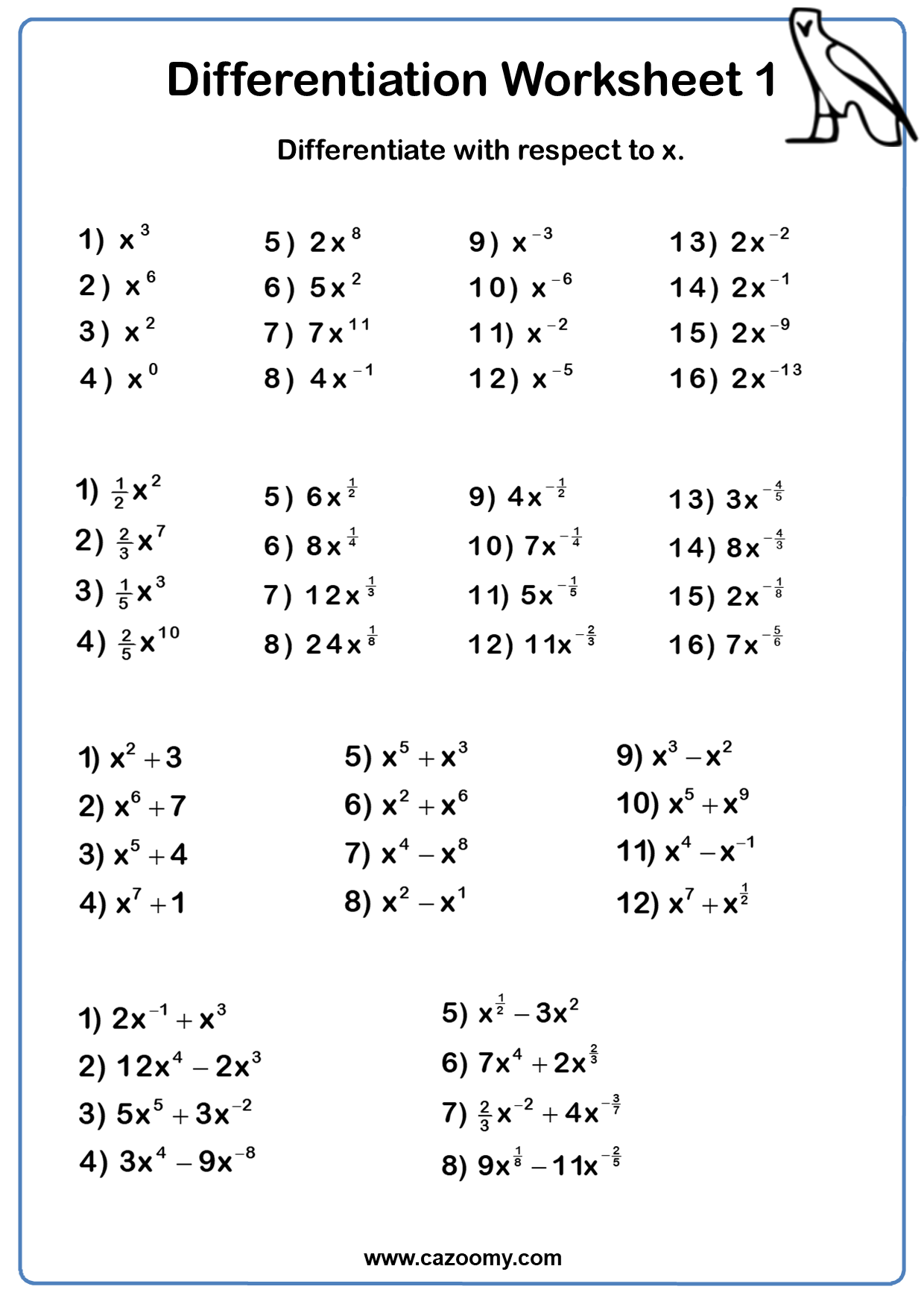 Differentiation Worksheets 1 3 In