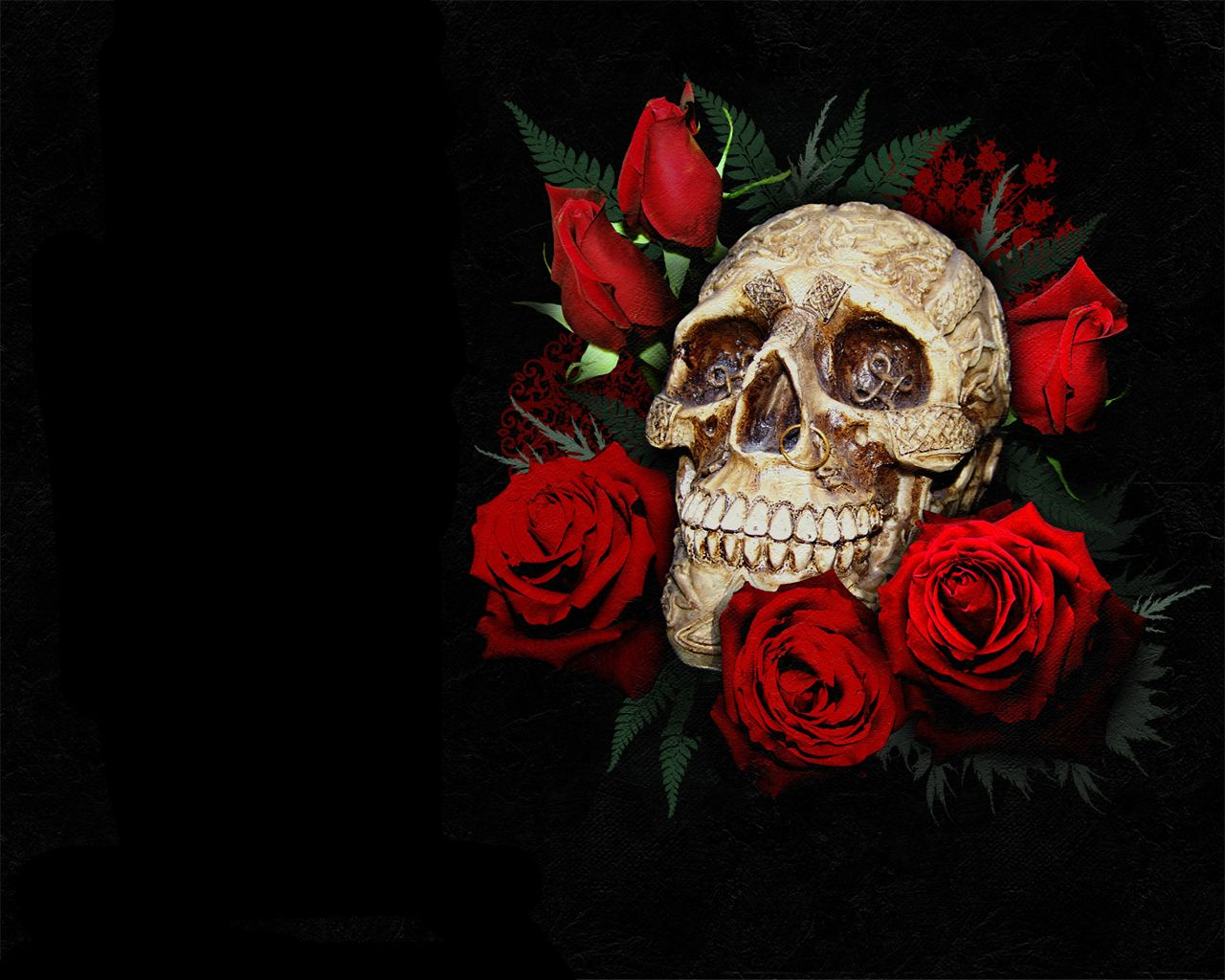 Emo Skull And Rose Glitter Gif Artistic Skulls Wallpaper Red Roses