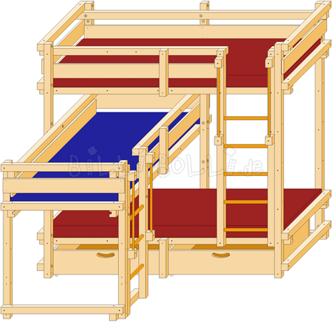 Dreier-Bett-über-Eck | Kinder Doppelbett/stockbett | Pinterest ...