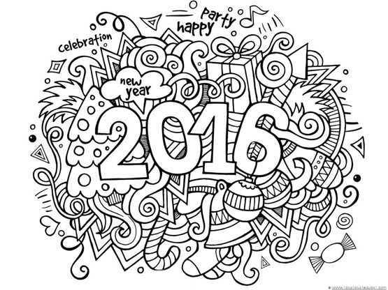 New Years 2016 Coloring 2016 calendar Doodles and Christmas