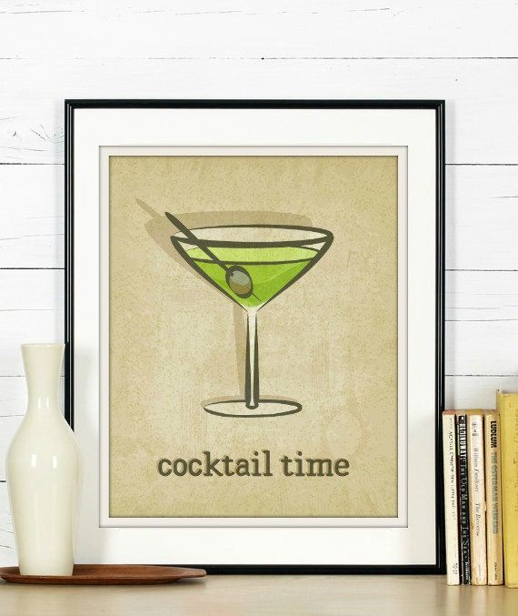 Cocktail Time - Cocktail Art, Martini Art, Martini Wall Art, Kitchen ...