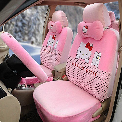 18pcs Hello Kitty Cartoon Universal Car Five Seat Covers Steering Wheel Cover Pink