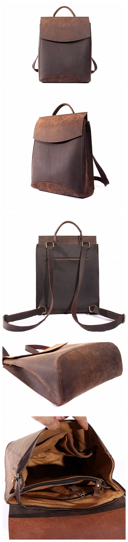 Handcrafted Vintage Style Top Grain Leather Backpack Travel Backpack Unisex Backpack 8904