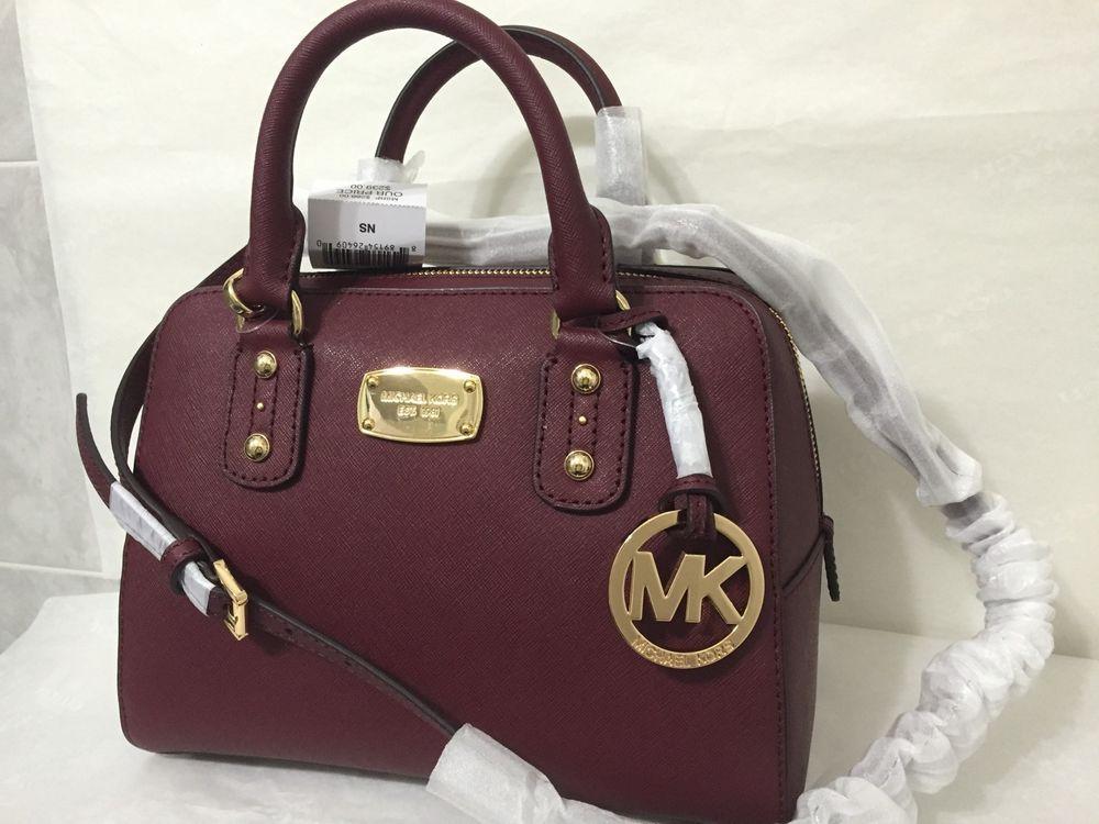 New Michael Kors Saffiano Leather Small Shoulder Bag Purse Handbag Merlot Ebay