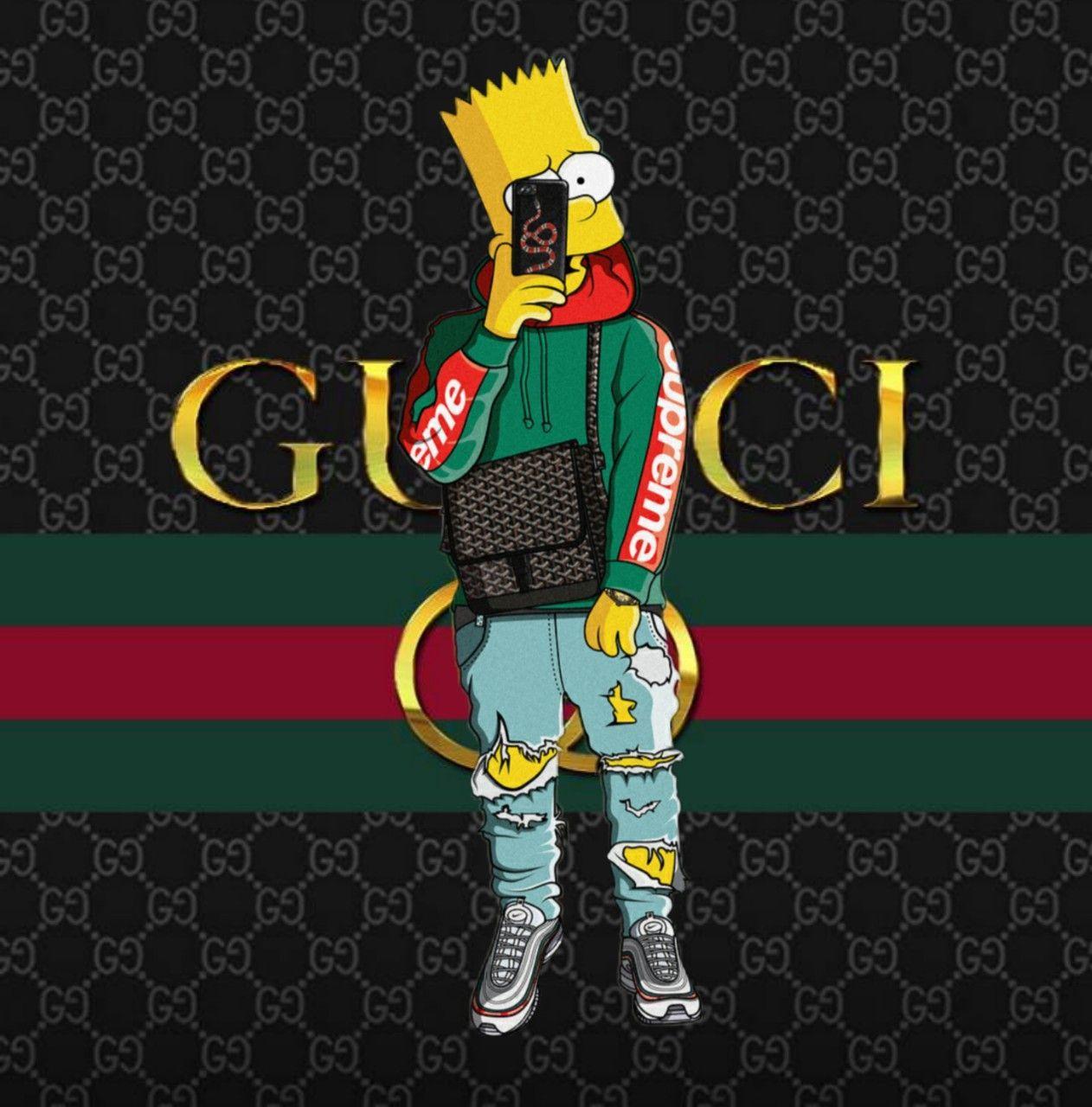 Bart Simpson Gucci X Supreme X Nike Air Max In 2020 Supreme Iphone Wallpaper Simpson Wallpaper Iphone Swag Wallpaper