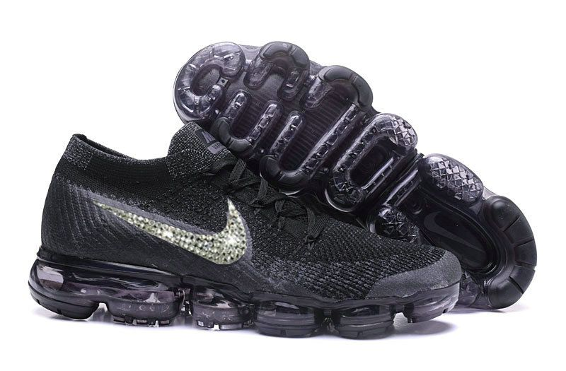 7d72886229dd0 2018-2019 New Arrival Running Shoes Sale Glitter Swarovski Crystal Swoosh  Vapormax Flykint Black Anthracite WMNS Size US 7 8