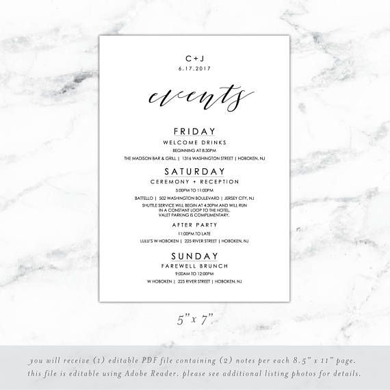 Wedding Weekend Itinerary Wedding Weekend Timeline Template - wedding weekend itinerary template