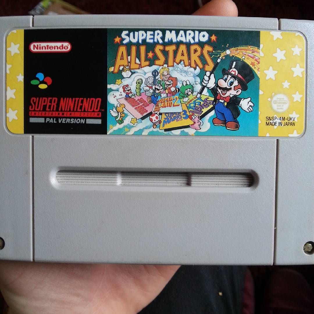 On instagram by the_higler #retrogames #microhobbit (o) http://ift.tt/1LOM0o9 I finally got a snes I'm getting good games slowly to keep me going till I can get a good collection going so after getting mario world the next obvious choice was mario allstars.  #nintendo #snes #mario #marioallstars #retrogaming