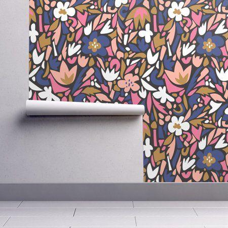 PeelandStick Removable Wallpaper Terrazzo Floral Blue