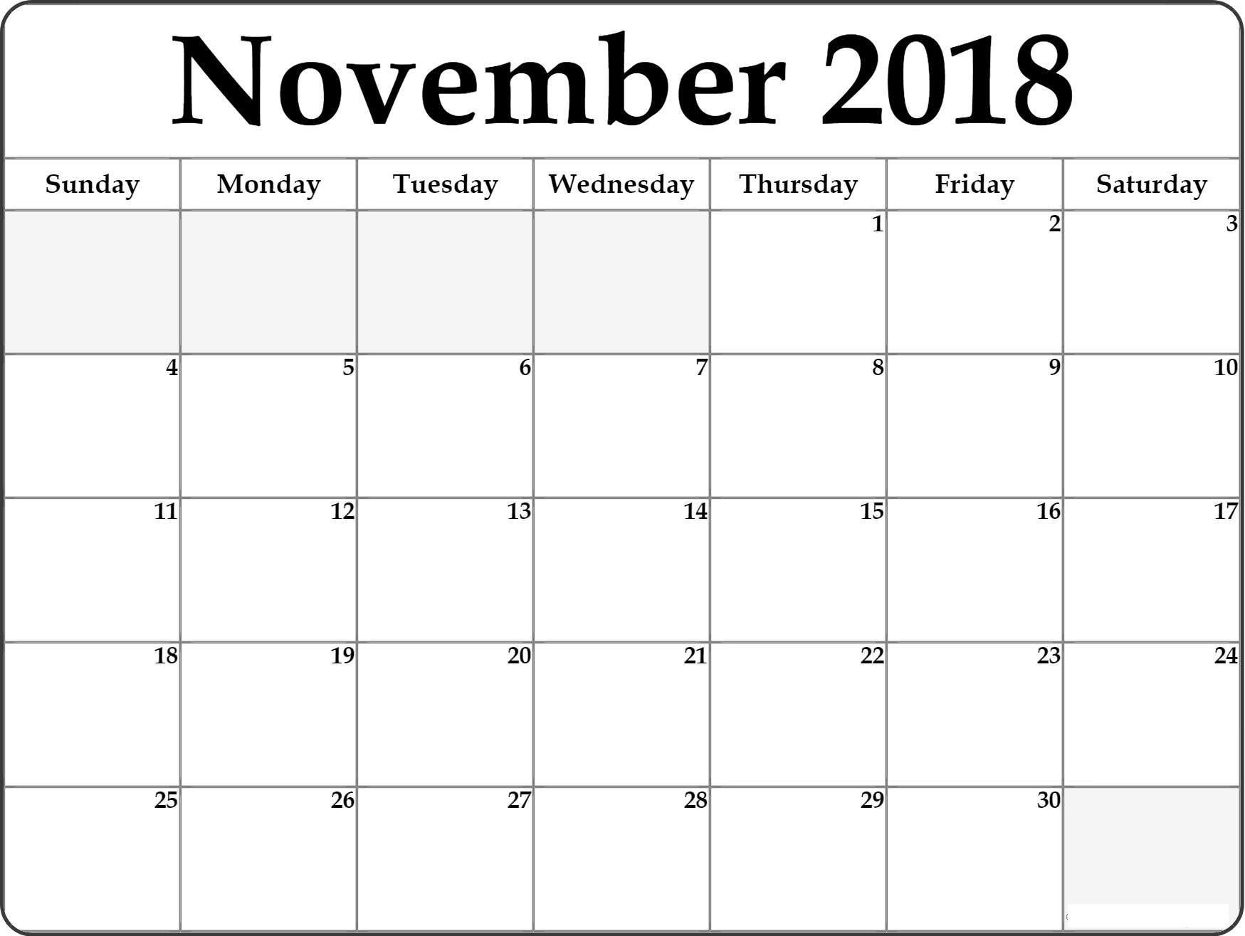 November Calendar 2018 Template Printable Blank Calendar Calendar Word Editable Calendar