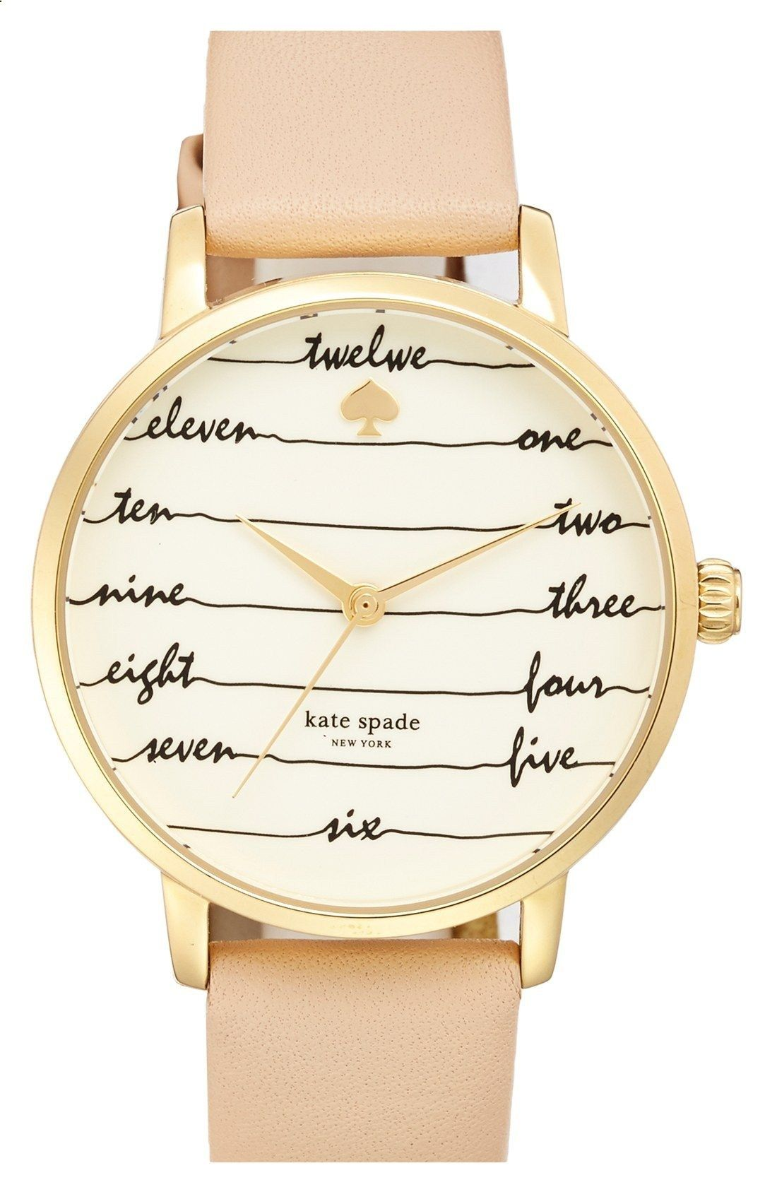 Flowing cursive offers whimsical timekeeping on this gold and leather Kate Spade watch. Its chic and sophisticated look will transition perfectly from outfit to outfit.