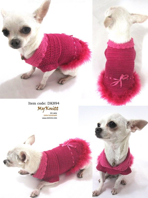 Pink Adorable Dog Dress Ribbon Feather Puppy Clothes Cute Handmade ...