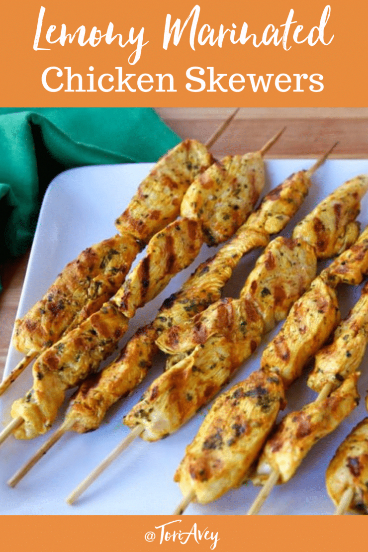 Lemony Marinated Chicken Skewers - A delicious Middle Eastern-inspired chicken marinade with a bright burst of lemon, perfect for grilling and summer cookouts. | ToriAvey.com #grilledchicken #chickenskewers #grilling #barbecue #summer #cookout #middleeastern #lemon #potluck #TorisKitchen #BestHealthySaladRecipes
