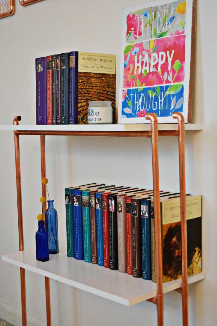 DIY Copper Pipe Bookcase