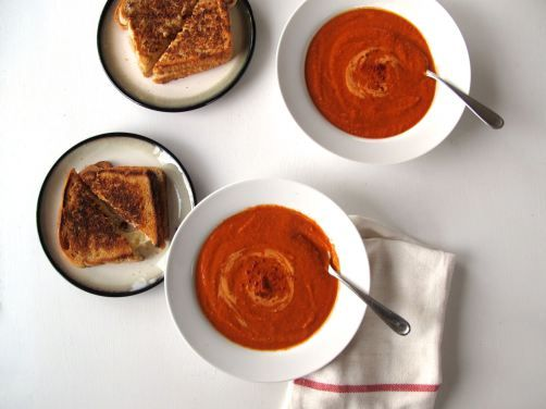 Spicy Tomato Soup. A hearty soup with creamy red lentils and aleppo pepper.