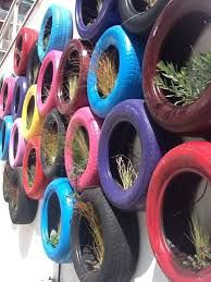 Tyre recycle Wall  #recycedtyres #aboutthegarden.com.au