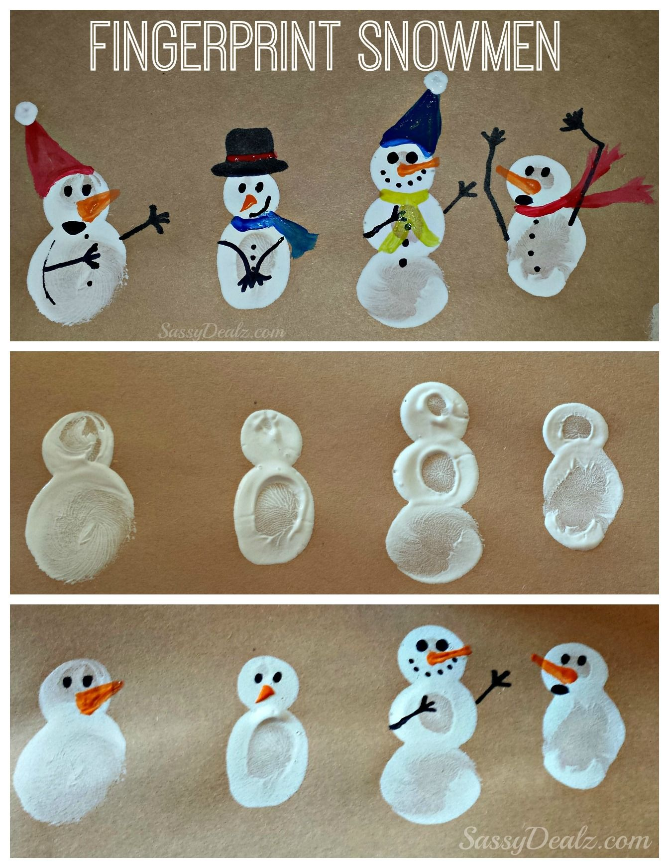 DIY Fingerprint Snowman Winter Craft For Kids Christmas