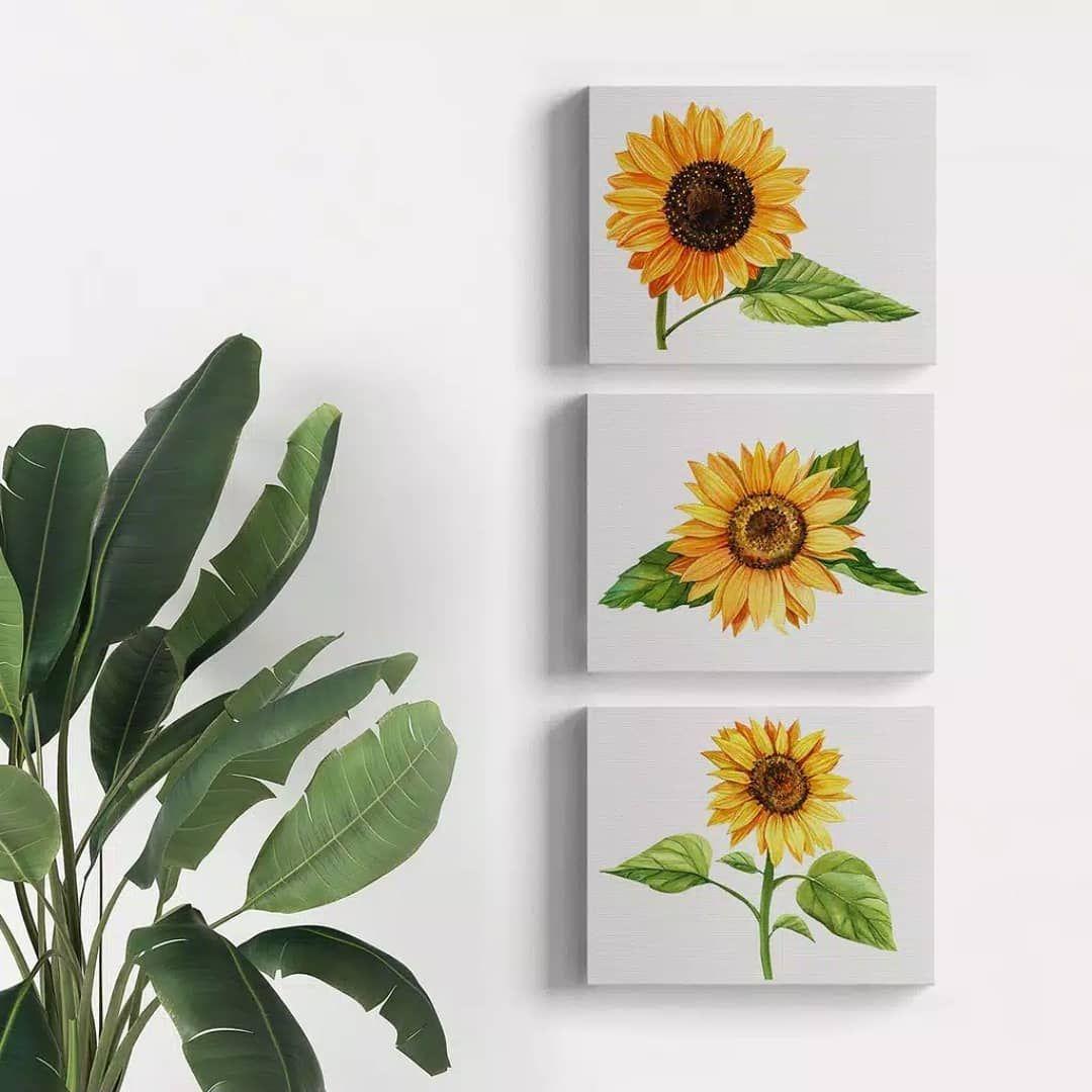 Dekorasi Dinding Kanvas Dengan Gambar Bunga Matahari Dapat Menciptakan Suasana Indah Dalam Ruan Lukisan Bunga Matahari Dinding Bunga Menggambar Bunga Matahari