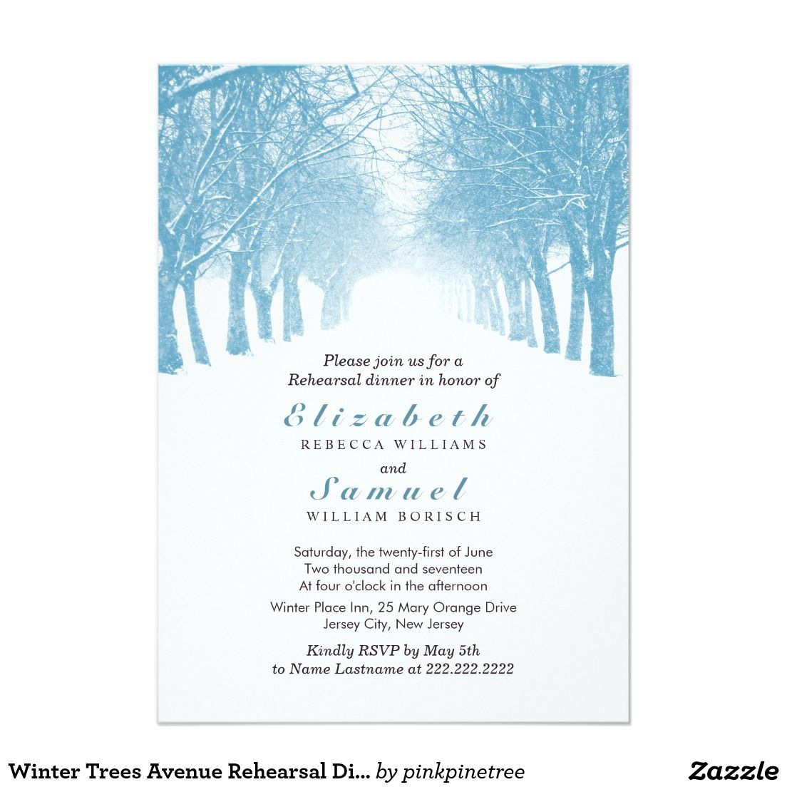 dd2557decffb Winter Trees Avenue Rehearsal Dinner Invitation
