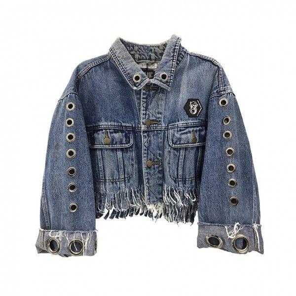 EYELET FRINGE DENIM JACKET ($330) ❤ liked on Polyvore featuring outerwear, jackets, blue denim jacket, jean jacket, eyelet jacket, fringe jackets and denim jacket