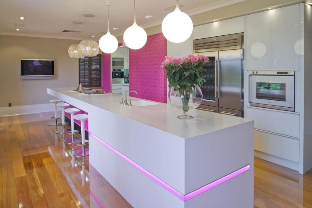 wallpaper gorgeous kitchen lighting ideas modern. Simple Ideas Beautiful Kitchen Design With Bar Stools Idea And Pink Floral Wallpaper  Also White Island Under Pendant Lamps Including Wooden Laminate  In Gorgeous Lighting Ideas Modern N