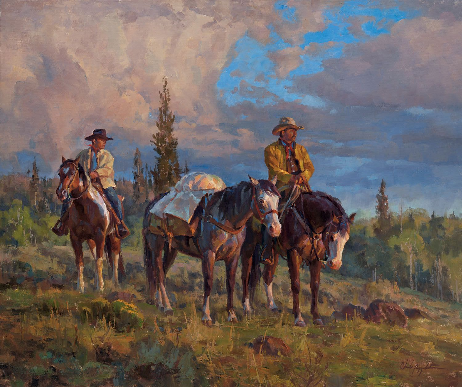 Men Humbled Chad Poppleton. Working Horses Cowboy Western Oil Painting