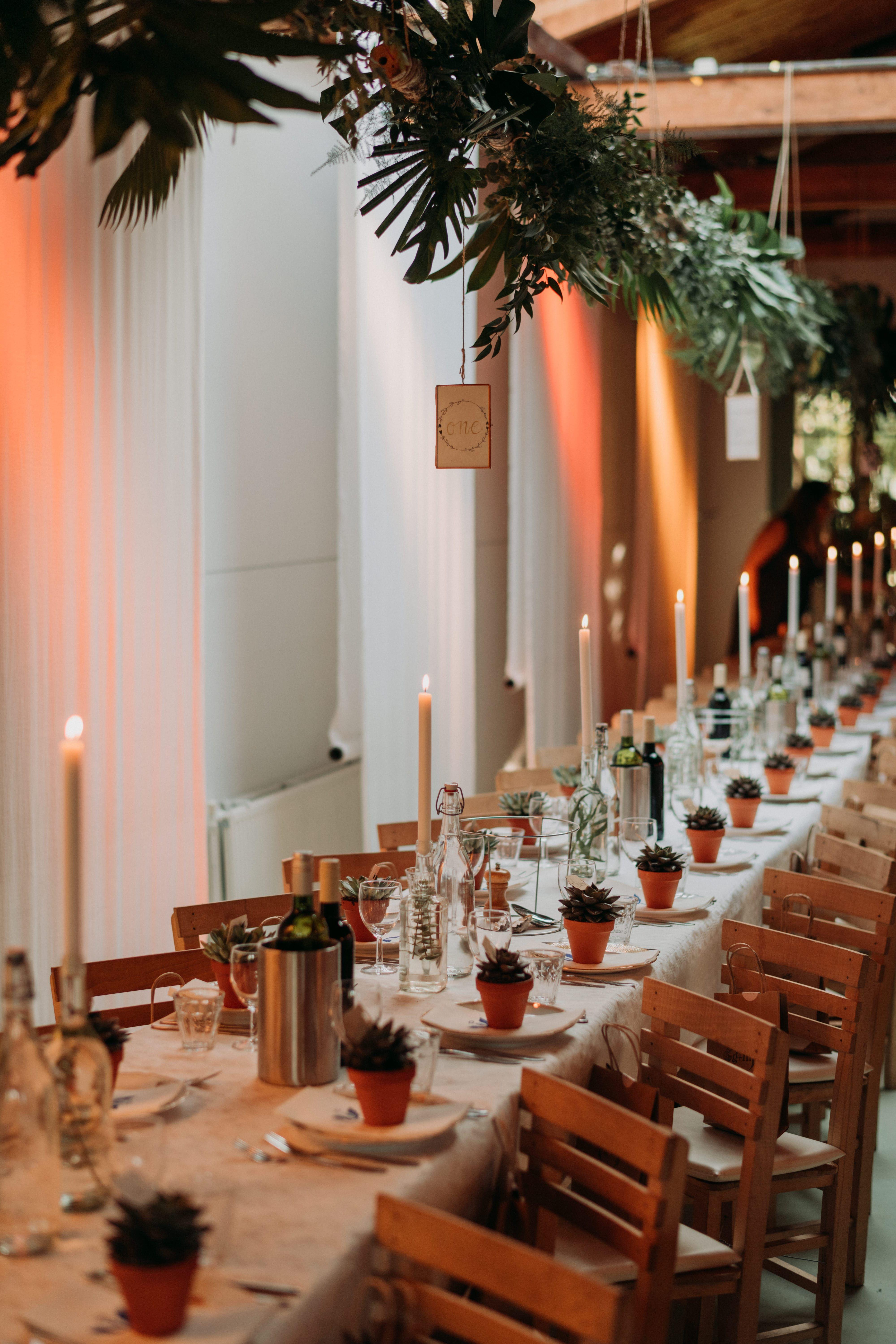Tischdeko Fur Eine Urbane Hochzeit Mit Hangenden Grunpflanzen Uber Den Tischen Und Sukkulenten Im Tontopf A Hangende Hochzeitsdeko Rustikale Tischdeko Hochzeit
