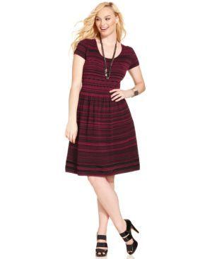 Great color, great cut | Jessica Simpson Plus Size Short-Sleve A-Line Sweater Dress