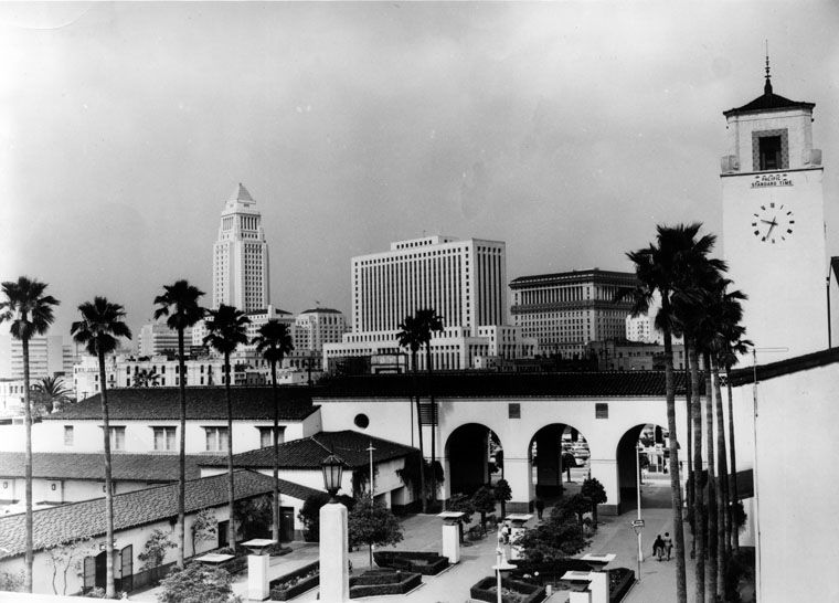 Ca 1947 Los Angeles Civic Center Skyline Is Seen From Union Station Water And Power Associate Los Angeles History California History Downtown Los Angeles