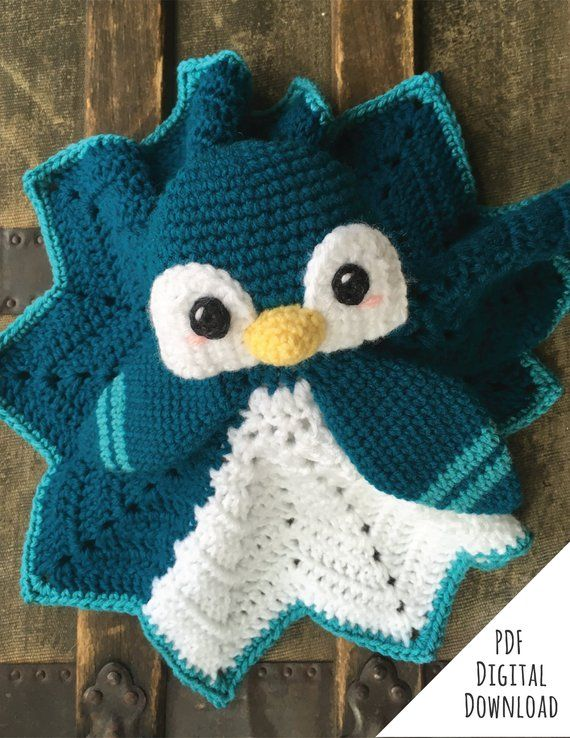 Flurry the Penguin Lovey crochet pattern - With Buttercup Chick Lovey Mod - PDF Instant Download #crochetsecurityblanket