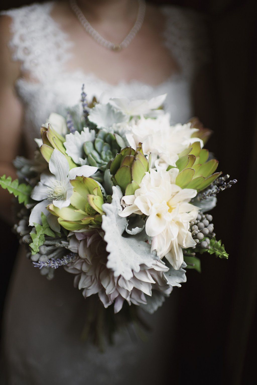 Green Wedding Bouquet Dahlias and Succulents Roses and