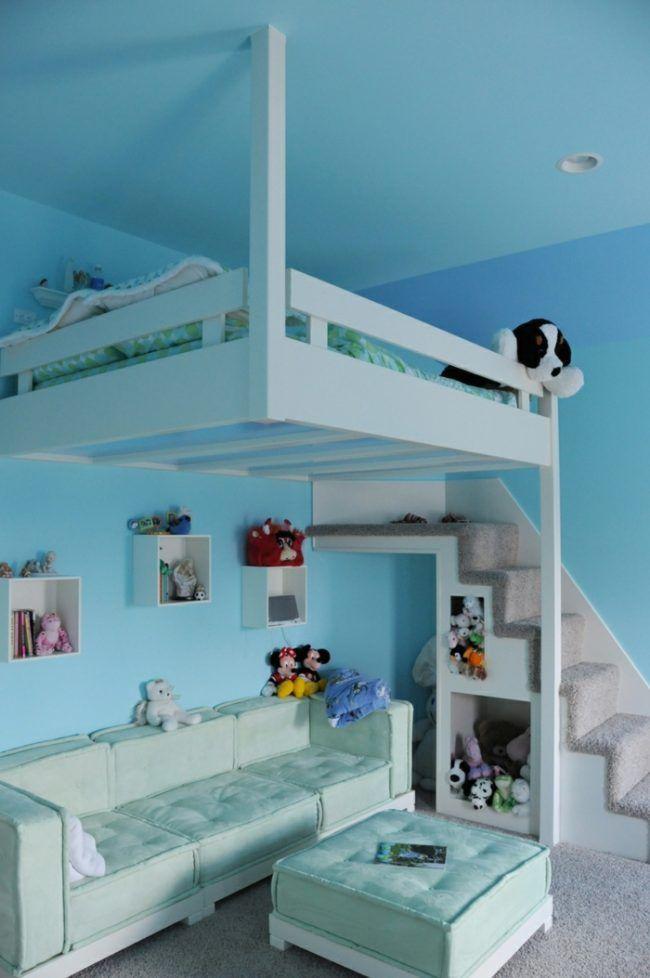 Kinderzimmer Gestaltung Idee Türkis Hochbett Sofa Hocker
