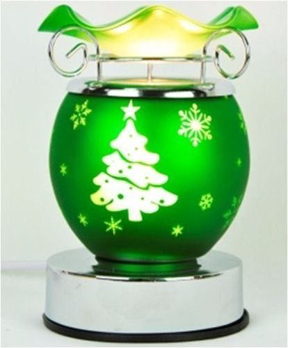 Christmas Tree Design Green Electric Tart Burner Aroma Lamp Oil Warmer With Touch Control Dimmer Switch 55 Tall 45 Tart Burner Christmas Tree Design Oil Lamps