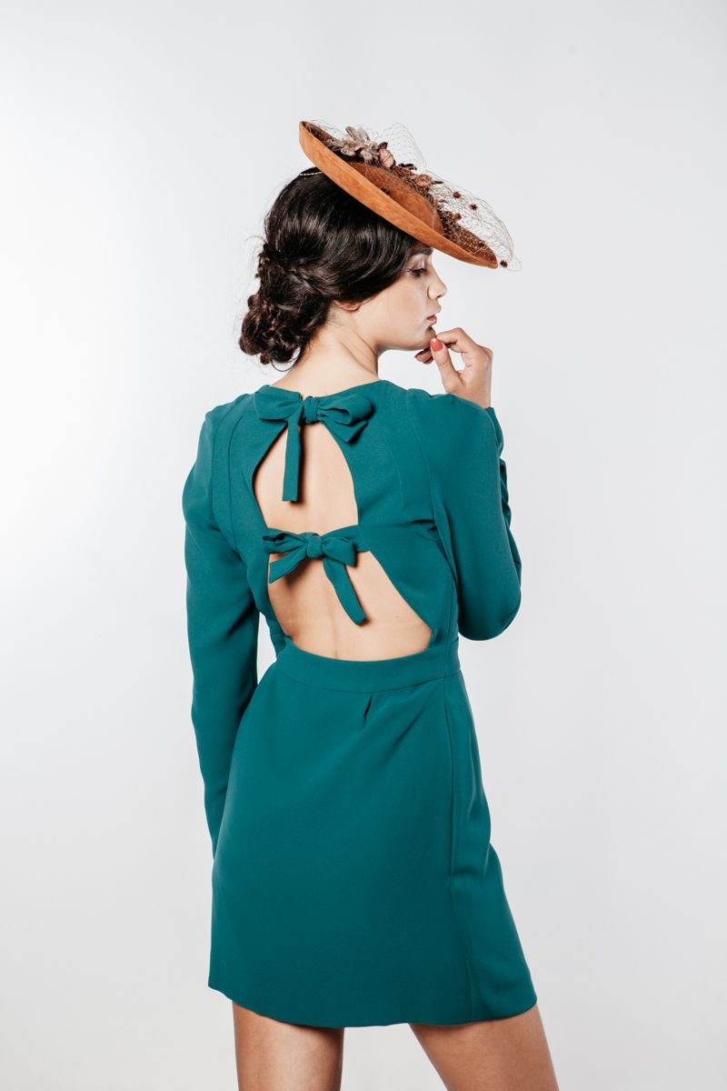 vestido lazos-comprar-on-line-boda-mañana-tocado-invitada-perfecta ...