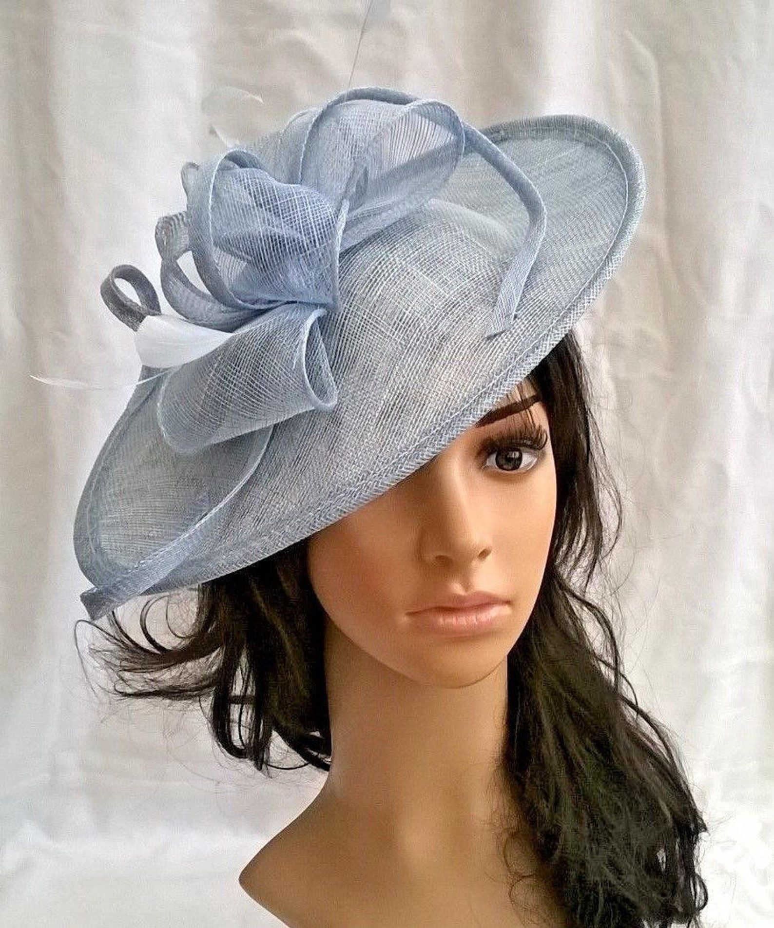 cc424e062a Jessica.Stunning Powder Blue Sinamay Shaped disc Fascinator with ...