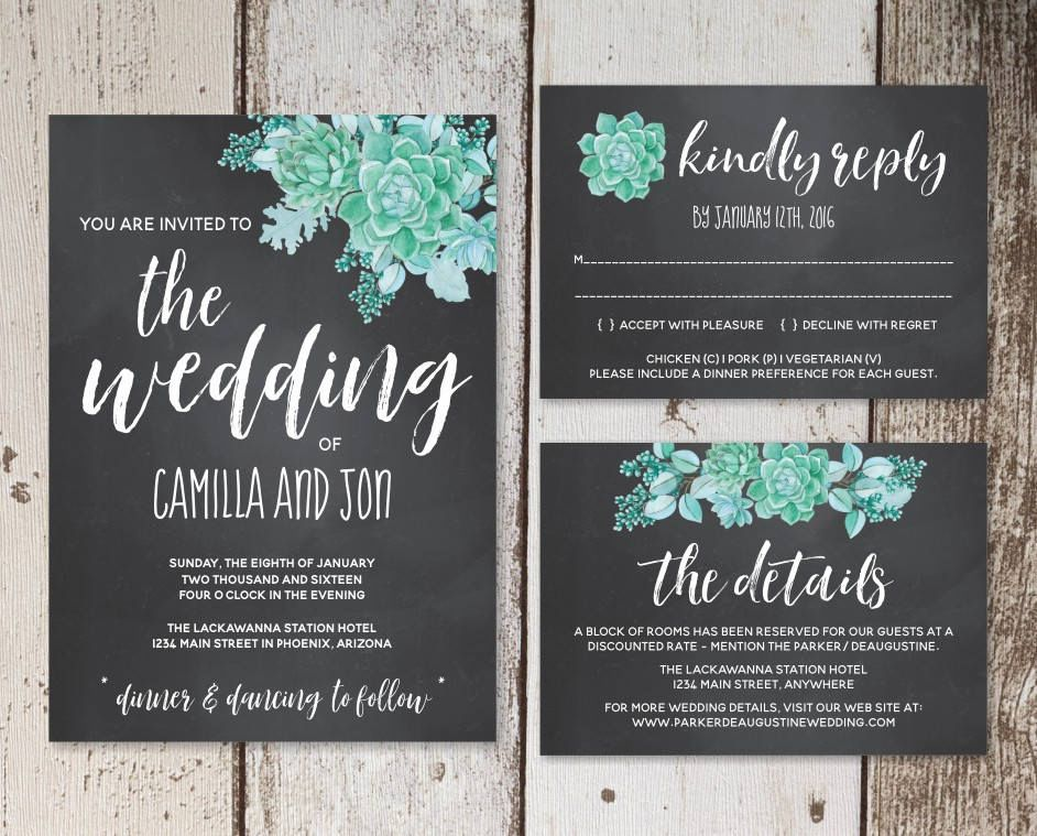 Watercolor Succulent Wedding Invitation Template Chalkboard Black