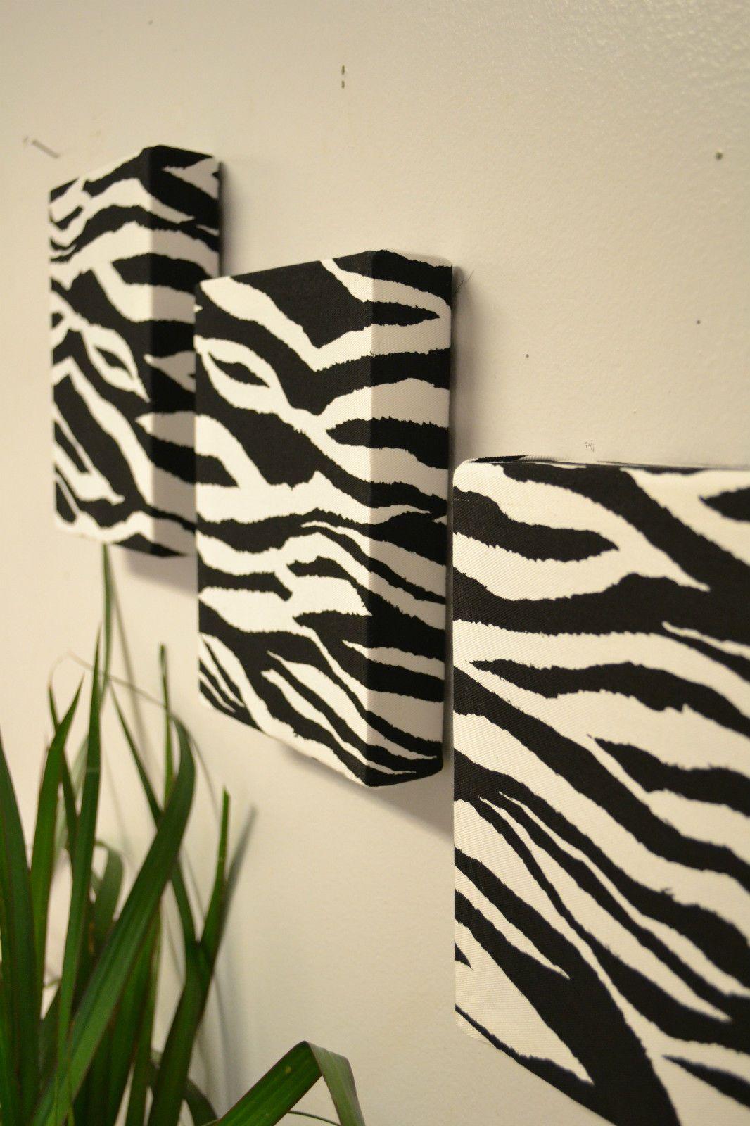 Zebra Print Fabric Wall Hanging Set- Canvas Wall Decor