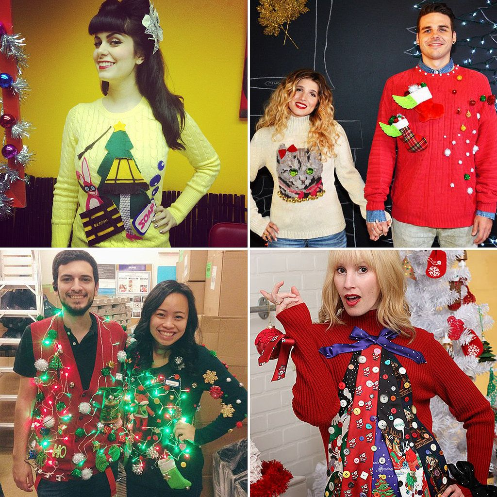 40 cheap and easy ugly christmas sweater diys - How To Decorate A Ugly Christmas Sweater